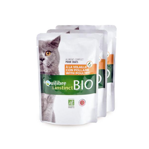 Pochons bio à la volaille et aux légumes - pour chat